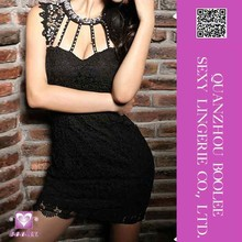 Wholesale low price popular European and American style sexy ladies hollow gemstone beaded lace dress