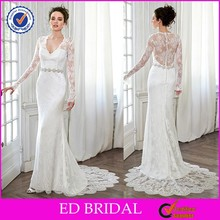 2015 Latest See Through Back Mermaid Lace Long Sleeve Wedding Gowns