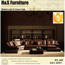 Contemporary home U shape lounge leather luxury corner sofa 1322#