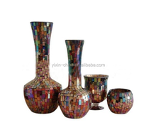 elegant brown color mosaic glass vase and candle hoder home decoration pieces