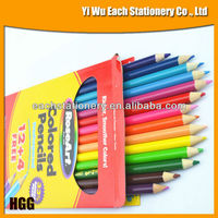3.5'' Length Hexagonal/Round Sharpened Wooden Mini Color Pencil Set In Color Paper Box