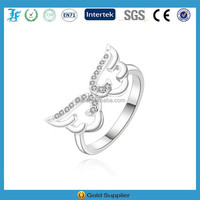 fashion Open hollow out angel wing ring with rhinestones