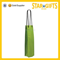 Promotional Handled Type Customized Non Woven Wine Bag For Single Bottle