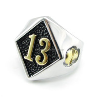 Classic Fashion New Flame Lucky Gold Plated 13 Fire Ring Full Sizes Skull 316 Stainless Steel Ring Jewelry for Men 2015