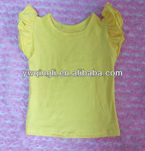 Hot Sale Summer Yellow Baby Girl Tank Top with 100% Cotton Fancy Tops for Girls
