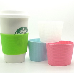 Logo printed disposable cup with sleeve Eco Cup Silicone Lid & Sleeve Plastic Coffee mug Silicone Cup Sleeve For Coffee