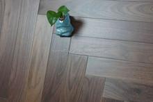 Engineered American black walnut herringbone parquet flooring