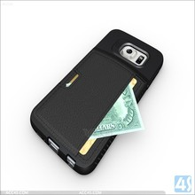 Black Pu Leather Wallet Hard Back Cover Skin Moblie phone Case for Samsung Galaxy S6