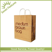 Customized Print Cheap brown Kraft shopping Paper Bags with round paper handle for cloth
