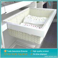 Furniture accessories soft close pull out white wicker moses basket