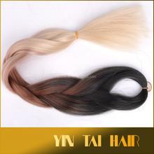 Wholesale good quality kanekalon synthetic hair extension ombre jumbo braiding hair 3 tone color