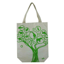 free style women bento shopping gift green simple printed cotton canvas shoulder bag