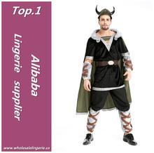 Superior calidad viking trajes para hombre sexy con cabo y casque