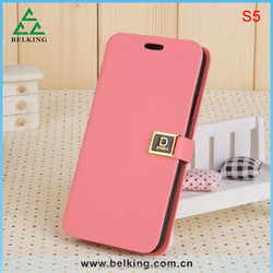 10 colors Button D PU Flip Leather Case Cover For Samsung Galaxy S5