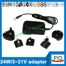 interchangeable plug power adapter 15v 5v 7v 9v 12v 19v 21v multiple plug adapter with eu us au uk plug