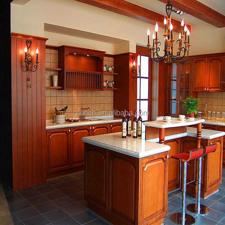 Design high quality cheap price of modular solid wood kitchen cabinets