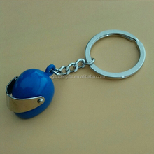 Blue 3d motorcycle helmet keychains keyrings with customized logo for new year gift