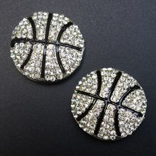 Wholesale 28mm BASKETBALL Crystal Rhinestone Metal SLIDER , Sports Ball Rhinestones buttons for Hair Flower sewing accessories