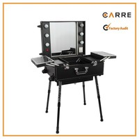 leather professional rolling beauty cosmetic studio makeup case with lights
