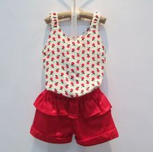 version of the children's summer models girls halter top shorts suit summer flowers girls suit