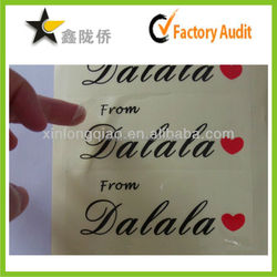 2015 Wholesale professional custom printed waterproof clear adhesive labels for glass bottles