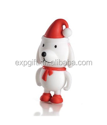 Christmas Puppy USB Flash Drive / Puppy With Santa Hat USB Flash Drive / Christmas USB Flash Drive