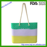 Wholesale rope strap silicone beach bag for lady