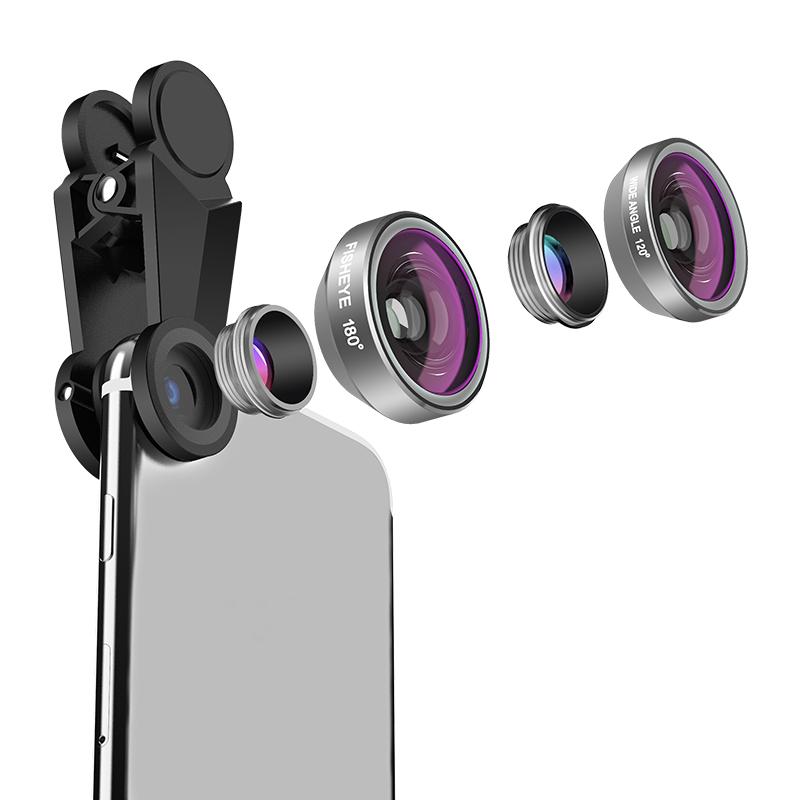 Multi-capa de ángulo ancho Marco telescopio lente de ojo de pez Cámara teléfono móvil Smartphone lente
