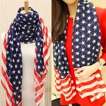 Wholesale Fashion USA star and stripe Printed American flag scarf