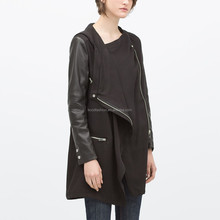 KDK344 hoody leather coat for new girl, black PU spliced overcoat for winter, draped coat with skewed closure