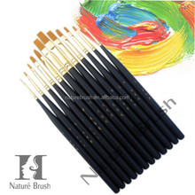 black handle golden synthetic hair artist paint brush