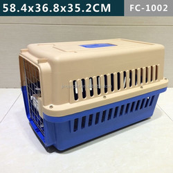 Plastic dog cage pet carrier with wheels