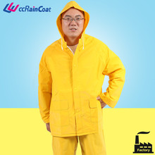 pvc reflective strip rain suits in yellow color