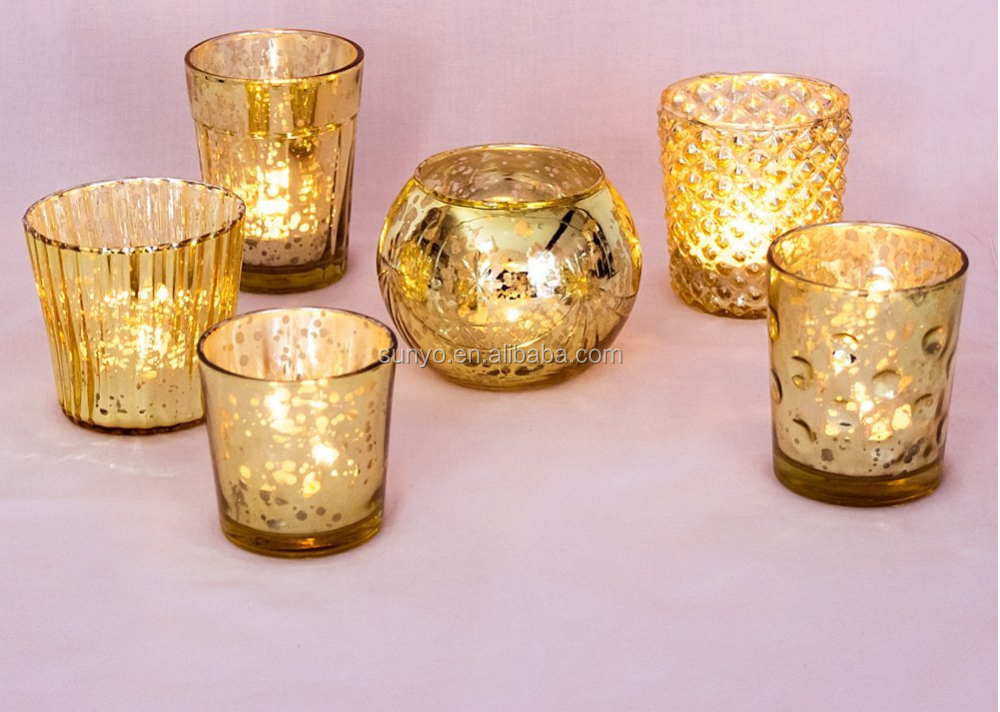 Wholesale Mercury Glass Antique Gold Tea Light Holder