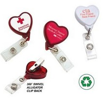Quality Plastic heart shaped nurse rotating swivel retractable badge reels