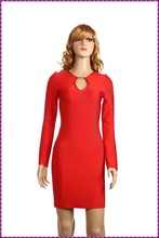 2015 New arrival cheap wholesale bandage dress sexy celebrity party luxury evening red dress