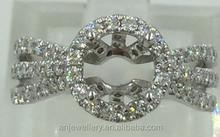 Shiny 14k rings round diamond cut pave setting rings jewelry