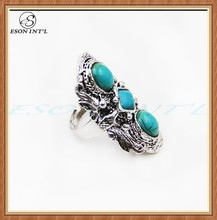 Popular Jewelry Wholesale Fashionable Ladies Blue Stone Silver Vintage Long Ring