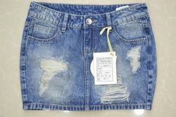 Sexy Blue Jean Short Skirts Ripped Wash Denim Skirts for Women