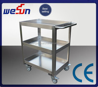 Hot sell stainless steel three layer medical notes trolley