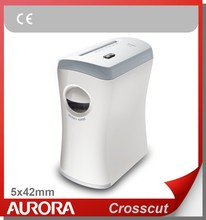 Aurora AS580C Plastic Paper Shredder, 5 sheet (A4) Crosscut 5x42mm, Light Duty Shreding Office equipment for Home & Office