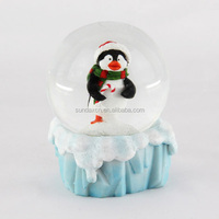Cheap Mini Resin Christmas Penguin Snow Globe