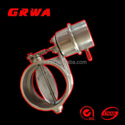 """Weldable Stainless Steel Exhaust Control Valve Set Vacuum Actuator 2"""" /3"""" Pipe Open Condition"""
