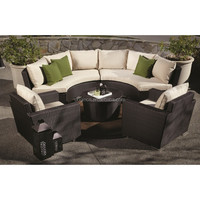 hand woven patio wicker half round sofa set with armchairs outdoor furniture china