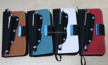 Stylish wallet case for iphone 4 leather case with holder for stylus