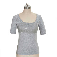 95% cotton 5% spandex Jersey Lace front Ladies Short Sleeve Tee shirt