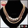 Fashion Trend Multi Layered Gold Chain Pearl Beaded Necklace RN11921