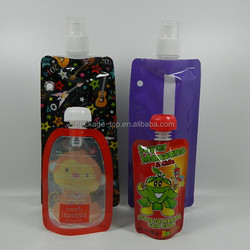 custom foldable reusable spout pouch for water with nozzle and hook/fashion plastic water pouch