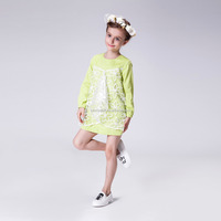 Long Sleeves Light Green 100% Cotton Autumn Dress For Little Girl