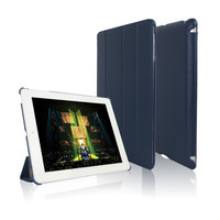 In Stock! Dark blue Leather Case For Apple iPad Tablet Cover For iPad 4 Cases Fit For iPad 2